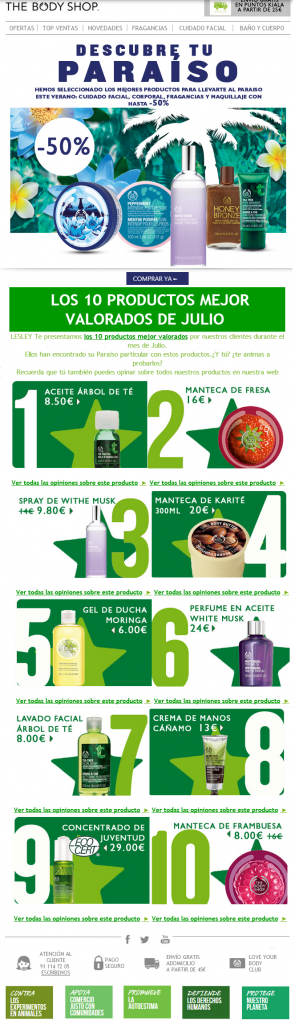 The Body Shop - email marketing
