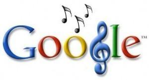 Logo de google con notas musicales