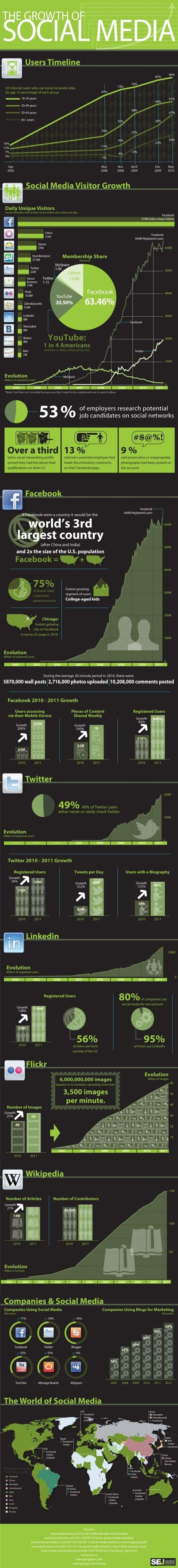 Infografía del crecimiento del social media en 2011