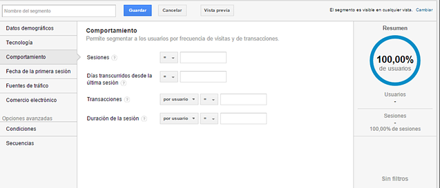 Segmentos de Google Analytics