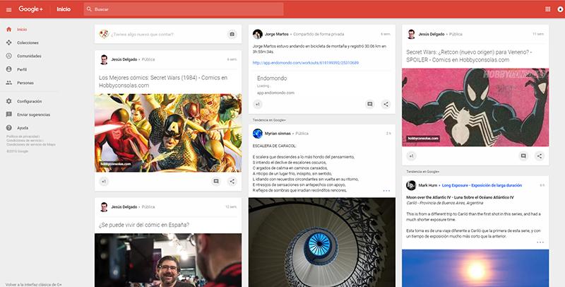 nuevo diseño google+