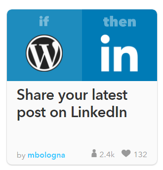 Receta wordpress linkedin IFTTT