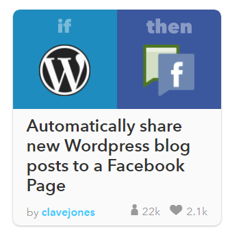 Receta wordpress facebook IFTTT