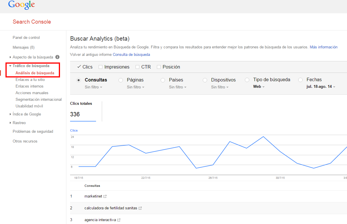 Búsqueda de palabras claves con Google WebMaster Tools