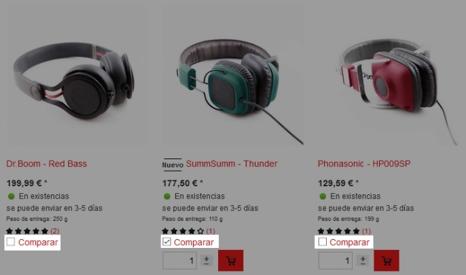 Comparación de productos