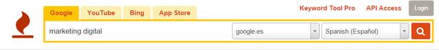 herramienta Keywordtool.io para encontrar palabras claves