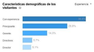 características demográficas de los visitantes en linkedin