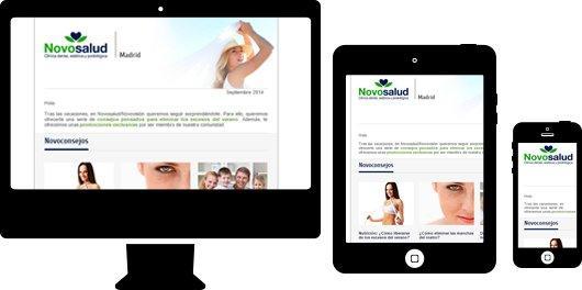 Diseño de newsletter responsive para sector salud. Novosalud
