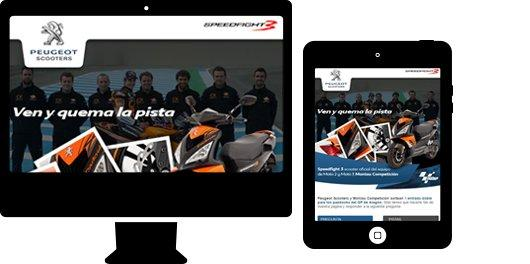 Aplicación web para sector automoción. Peugeot Scooters
