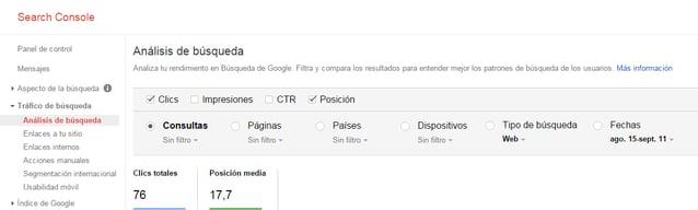 Análisis de búsqueda con Google Webmaster Tools