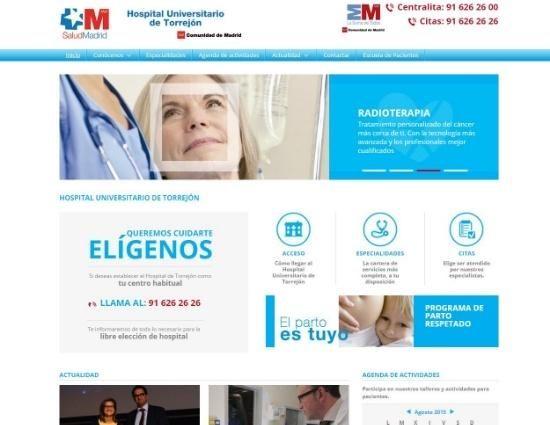 diseño web con uso azul para tema sanitario