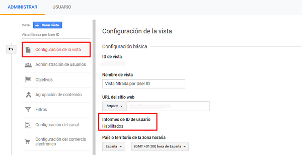 Crear vista User ID Google Analytics