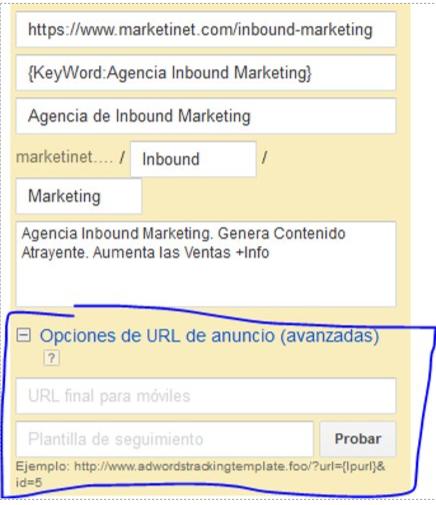 Cómo configurar ValueTrack  a nivel de anuncio en AdWords