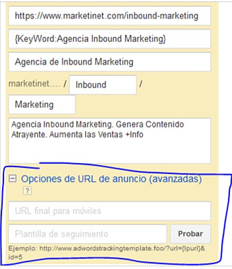 Cómo configurar ValueTrack  a nivel de anuncio en AdWords