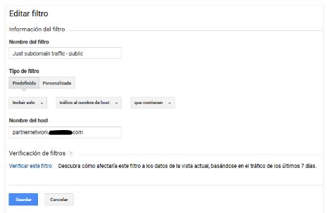 Configurar filtros para subdominios en Google analytics