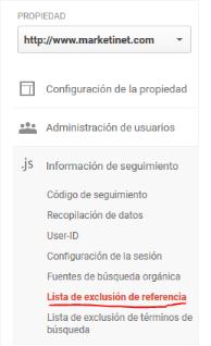 Lista de exclusión de referencia Google Analytics