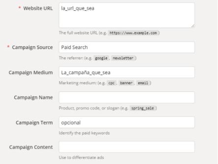 Herramienta Google Analytics URL builder