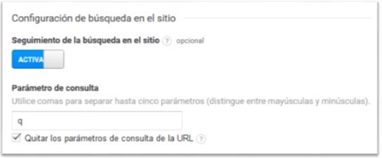 Configuración de búsqueda en el sitio