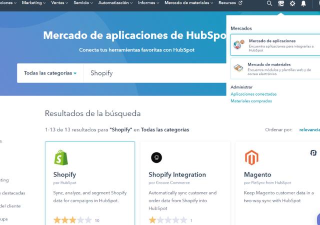 Conectar cuenta de HubSpot con  Shopify