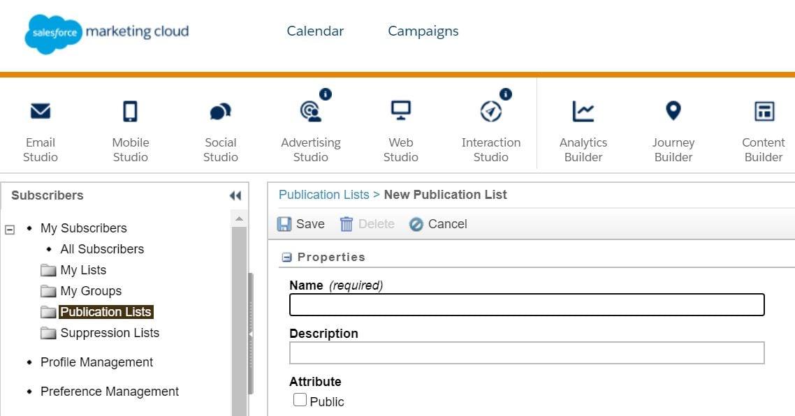 Lista de publicación en Marketing Cloud