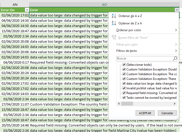 Excel con errores de sincronización