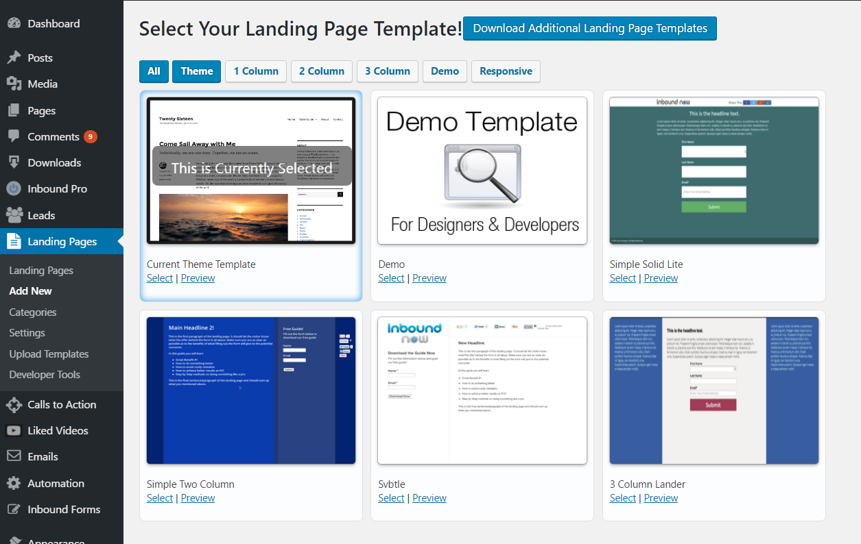 Plugin WordPress Landing Pages
