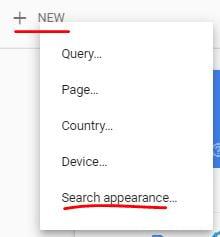 Botón nuevo en search console