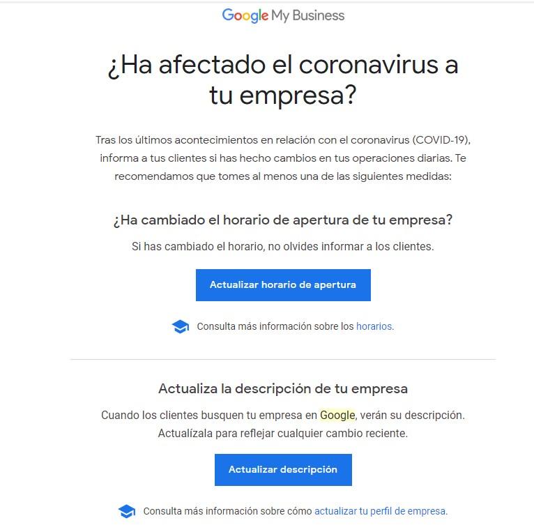 Correo de Google My Business por Coronavirus