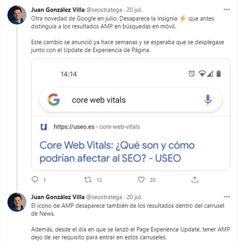Tweet de Juan González Villa sobre insignia AMP