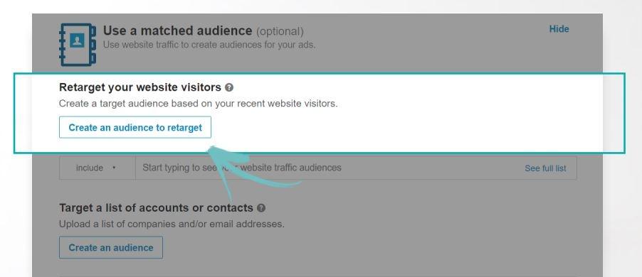 Crear audiencia específica para Remarketing LinkedIn