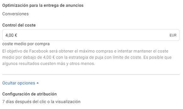 Control de coste Facebook Ads