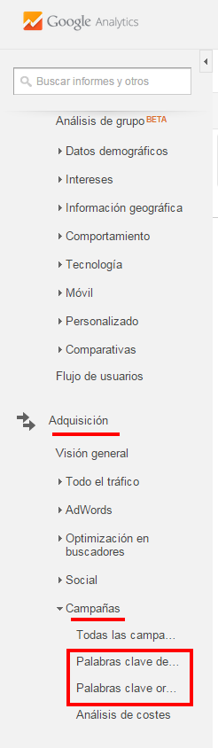 Búsqueda de palabras claves con Google Analytics