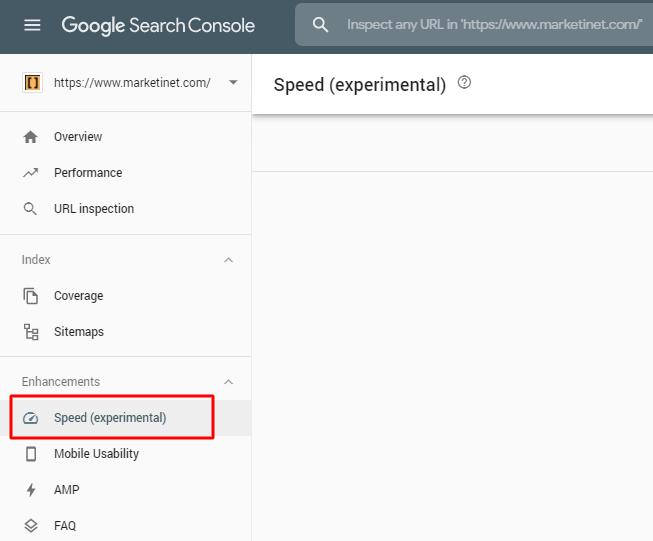 Informe velocidad de carga search console