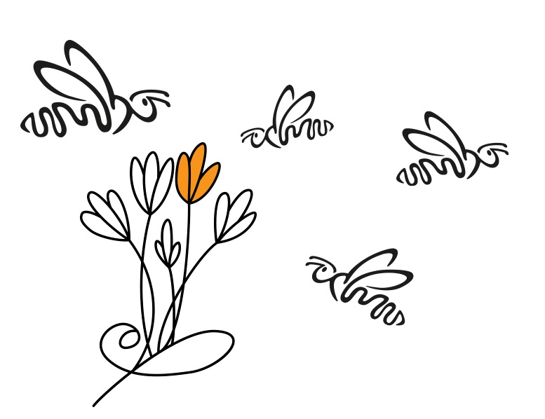 Abeja MarketiNet con flores