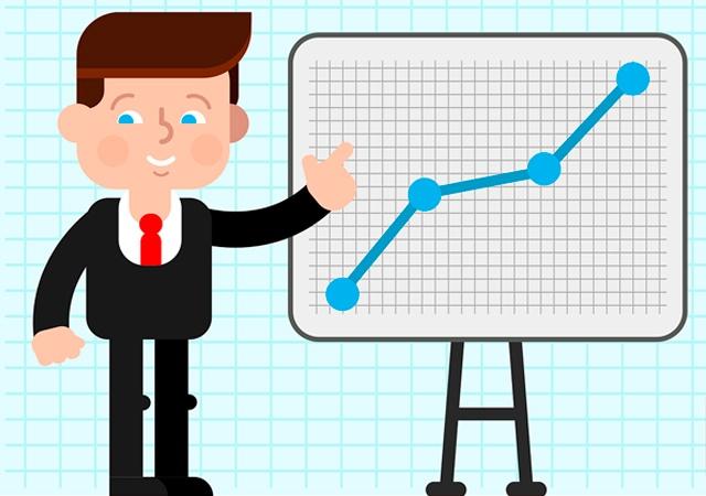 Ilustración con gráfico ascendente