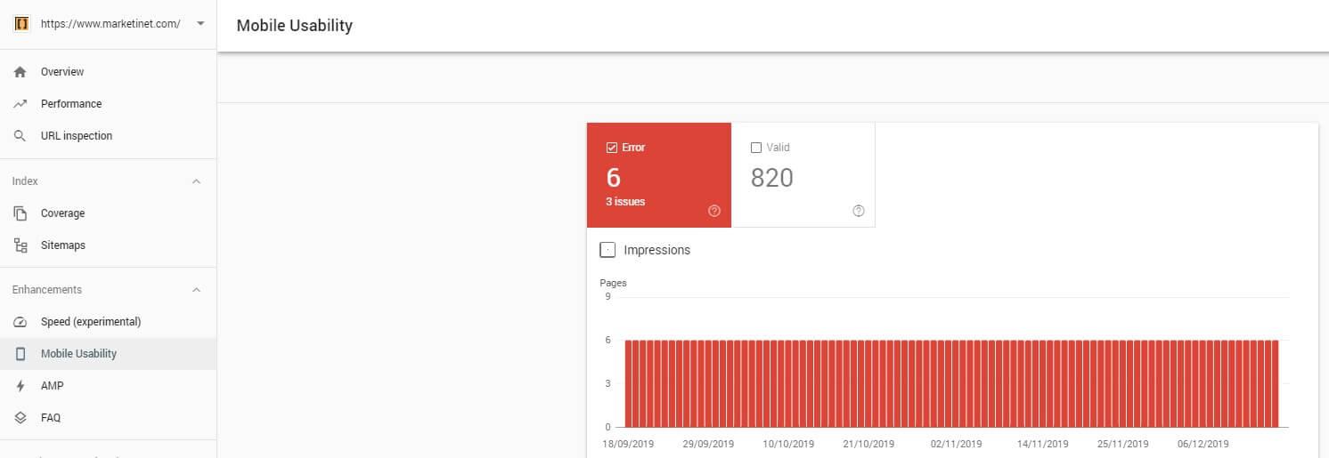 Informe de usabilidad móvil en search console