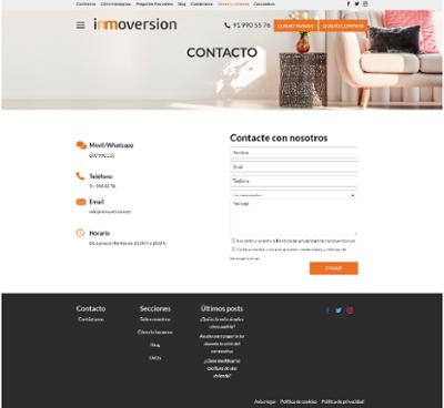 Página de contacto Inmoversion