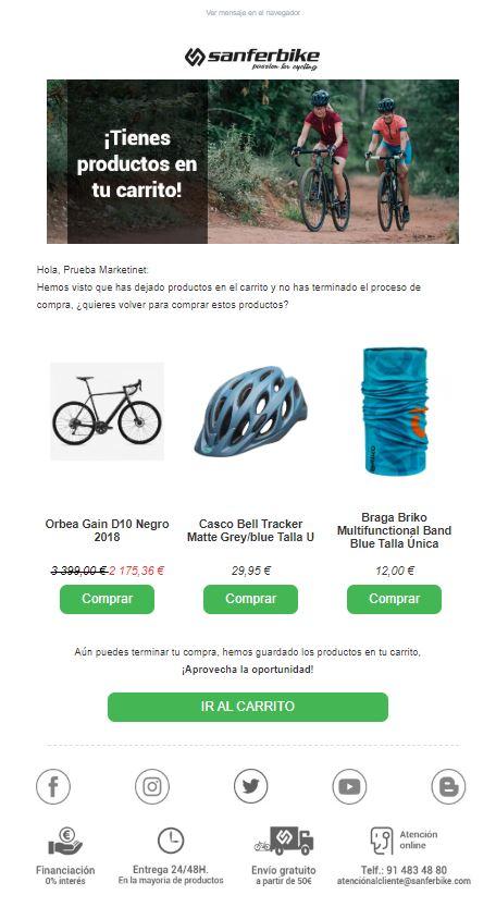 Sanferbike email SalesManago Carrito