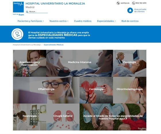 Página de especialidades Hospital la Moraleja