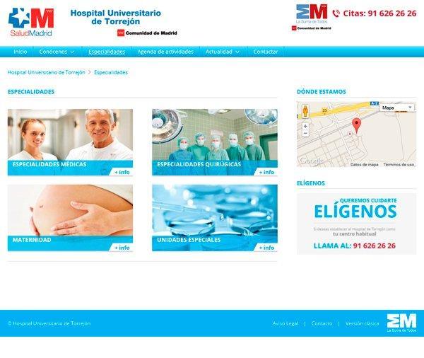 Hospital Torrejón - Especialidades