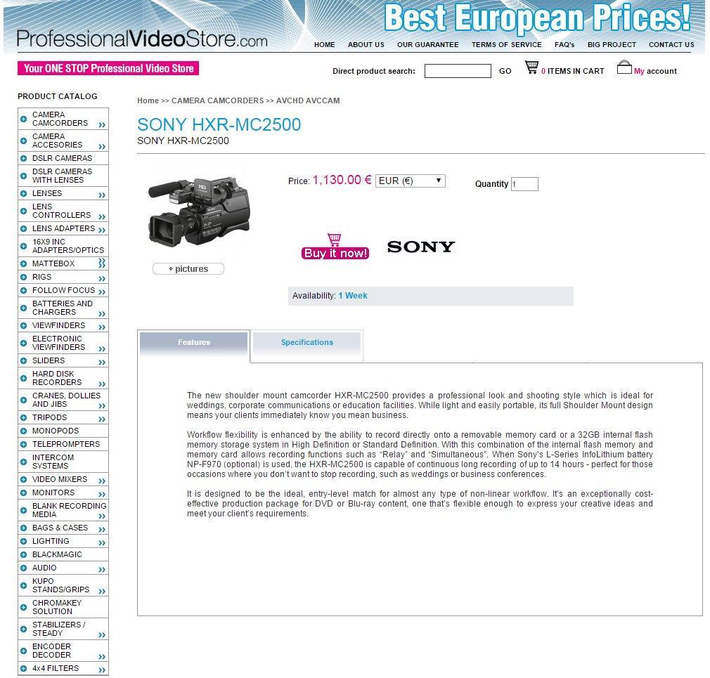 Tienda online Professional Video Store