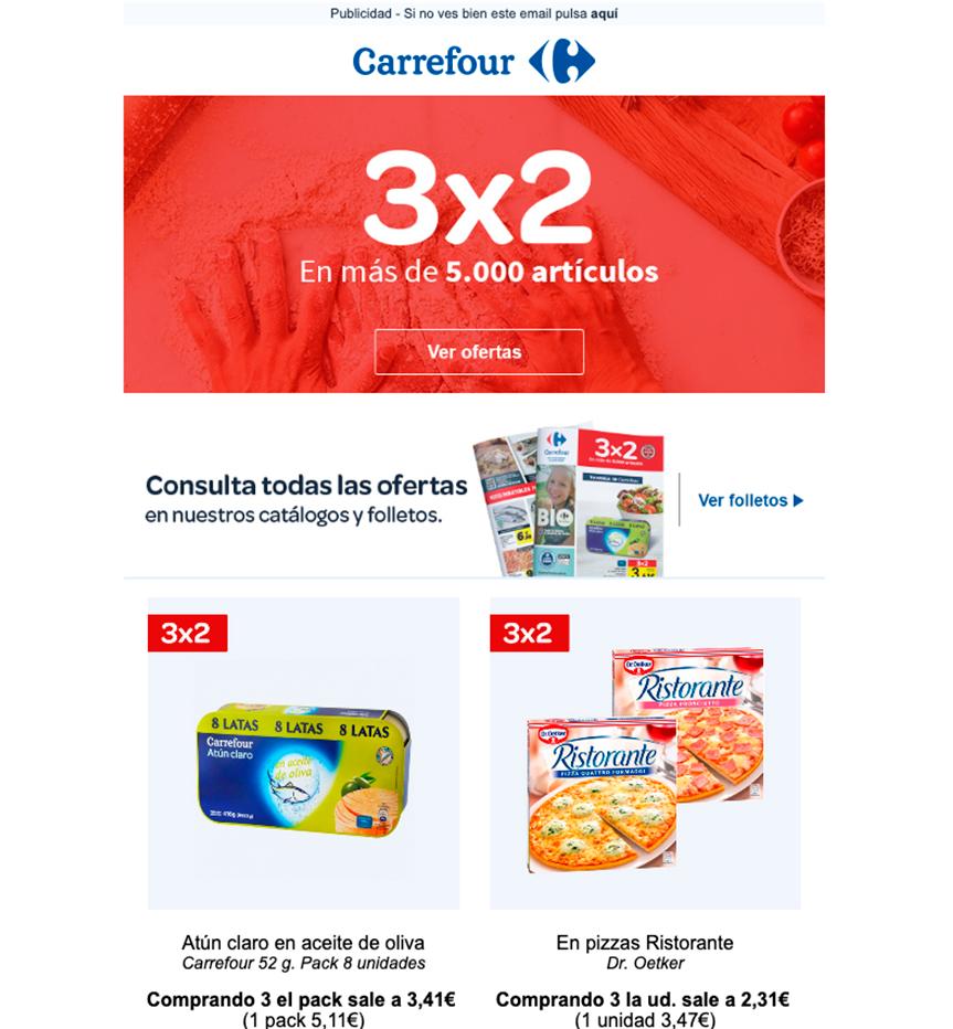 Creatividad de email marketing para Carrefour