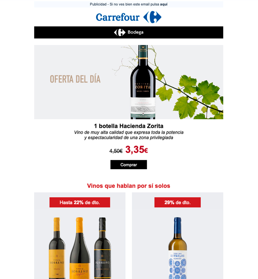 Diseño de email marketing Carrefour