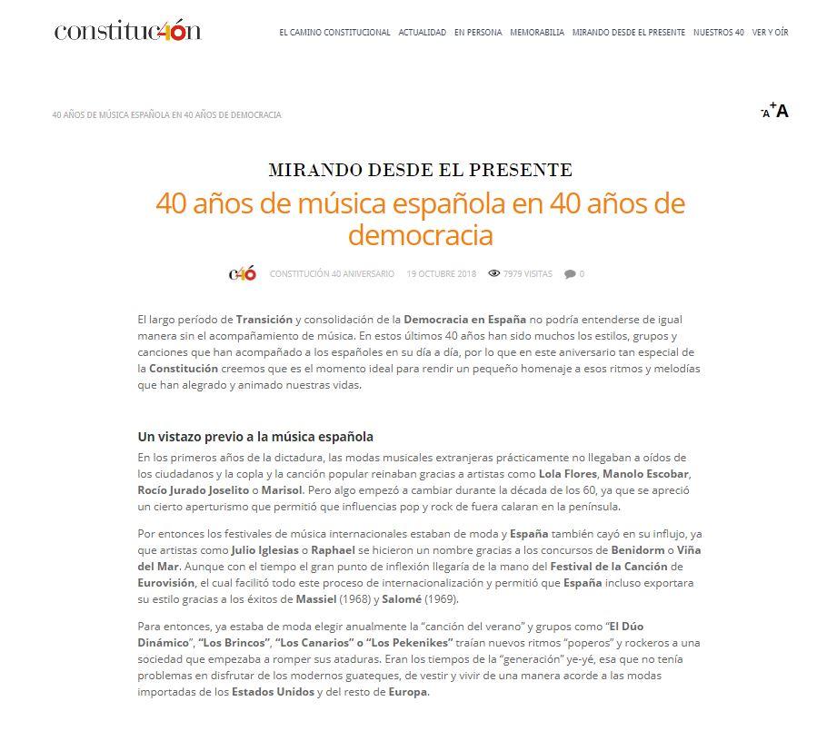 40 años de música española en 40 años de democracia