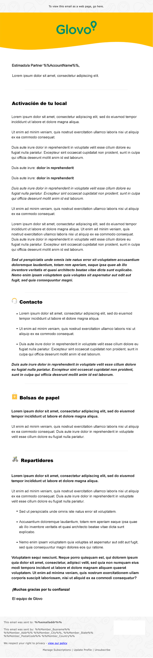 Email Glovo