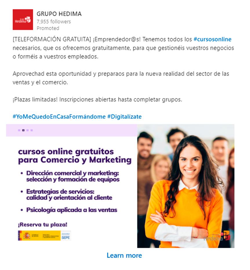 Anuncio Hedima curso comercio y marketing