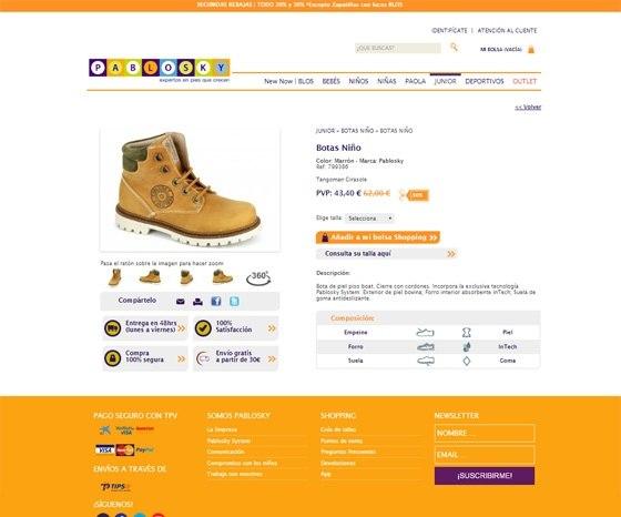 Tienda ecommerce Pablosky - Ficha Producto