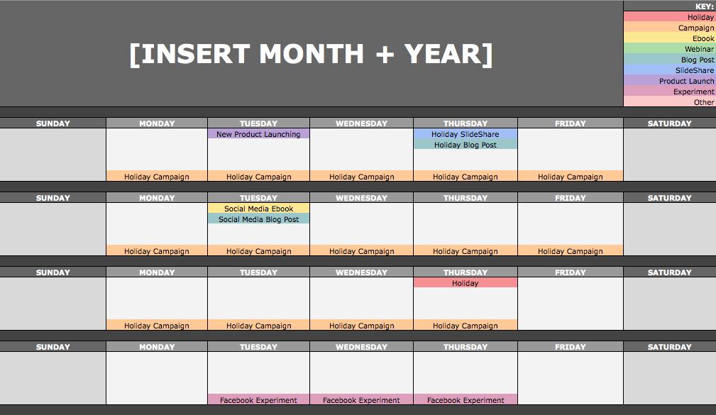 Modelo de Calendario Editorial de Hubspot