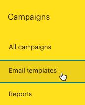 Clic en Plantillas de correo electrónico