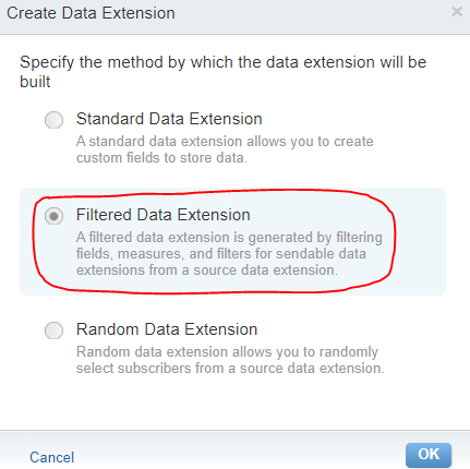 Filtered Data Extension